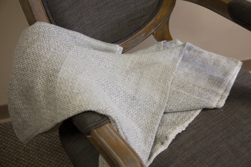 Small patterned Cashmere neutral throw   Donated by: Friends of DMH Foundation