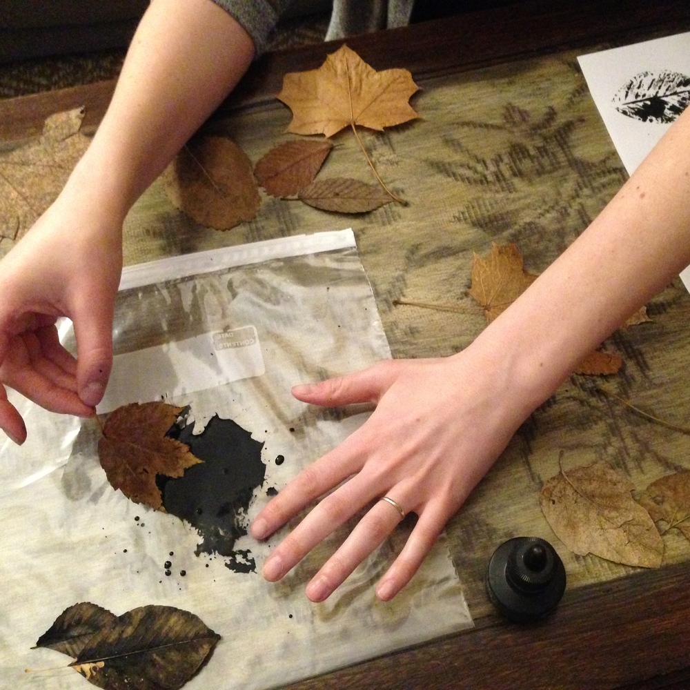 Dipping leaves into India ink.