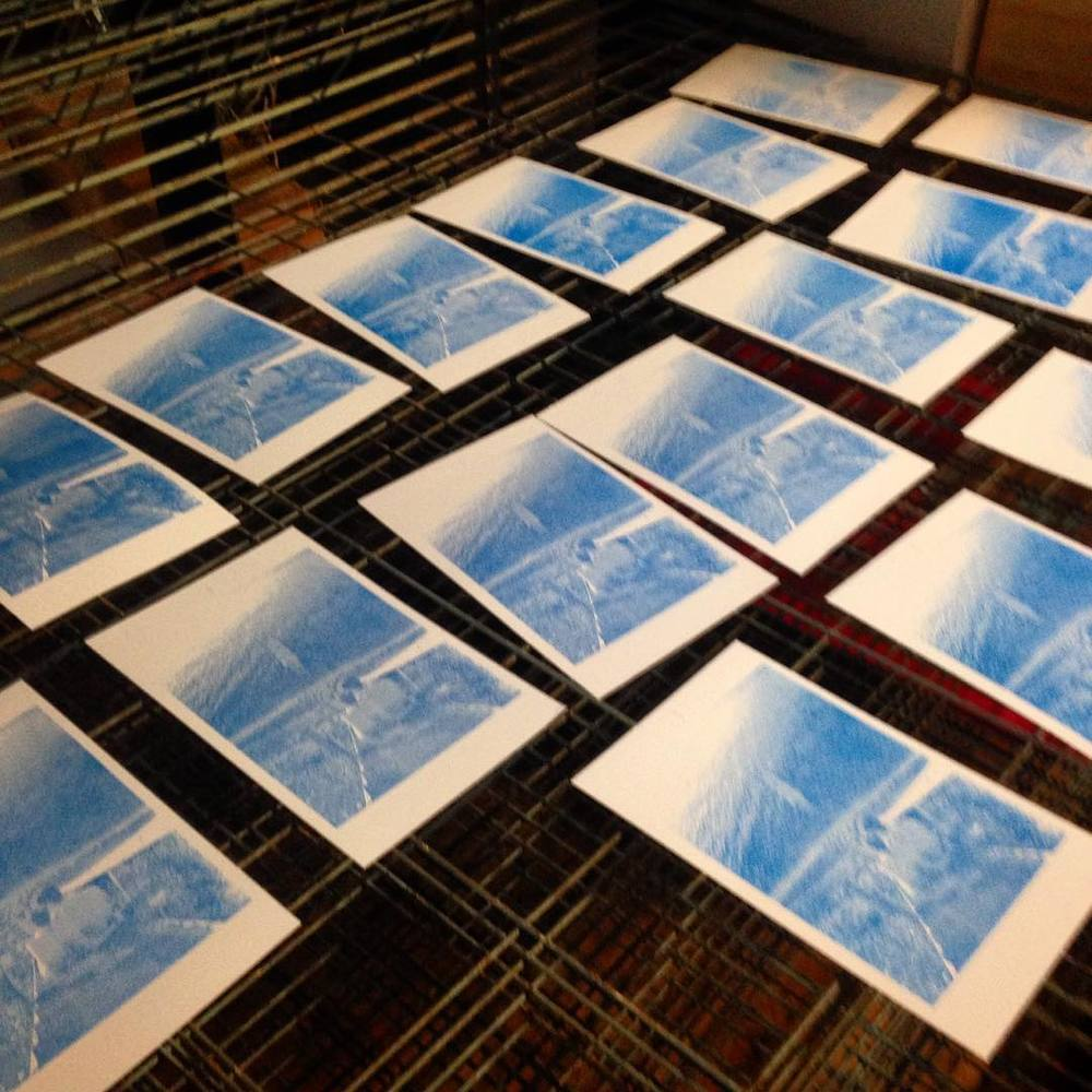 First layer of image print with cyan ink.