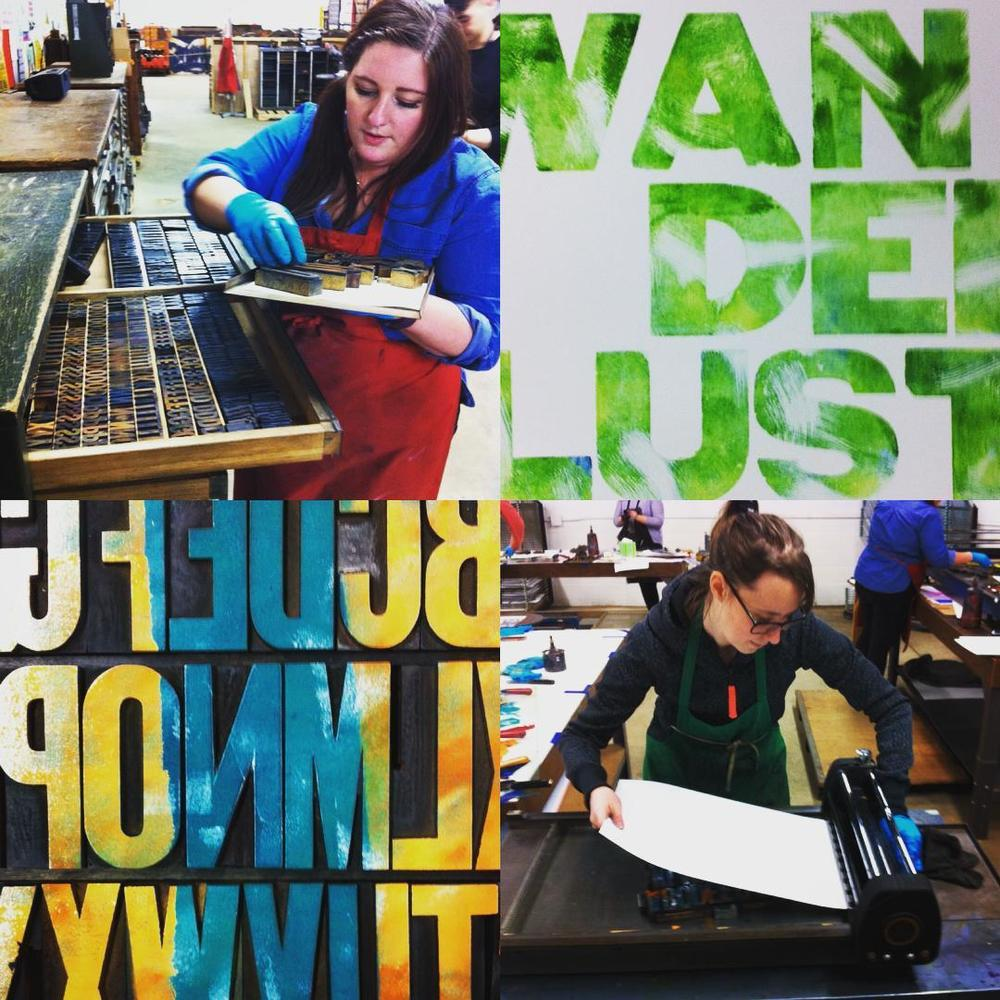 Lauren and I experimenting with different printing techniques during the letterpress workshop.