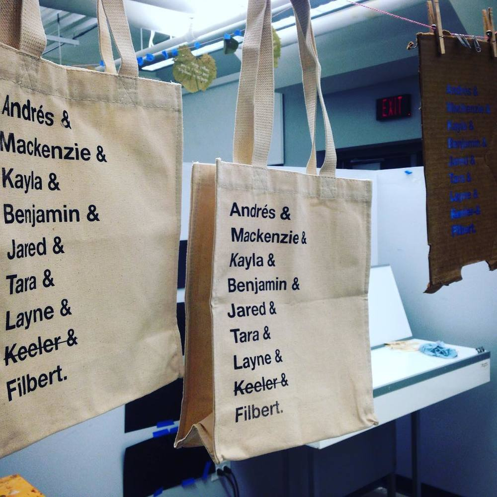 Printed bags with selected design by student, Mackenzie Freemire.
