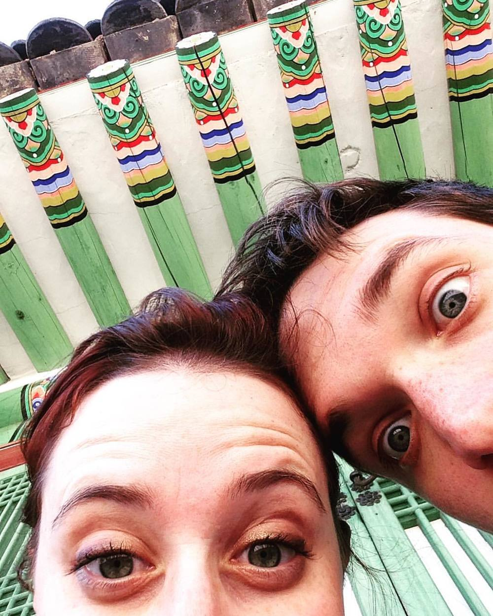 """We love pattern!"" My husband and I at the Gyeongbokgung Palace enjoying the incredibly detailed and colorful ceilings."