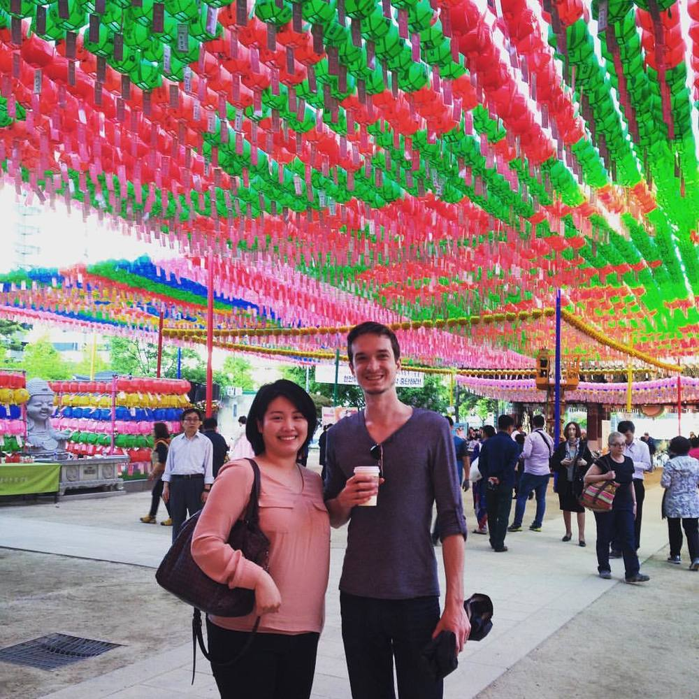 My husband and our graphic designer friend, Kahon Hong whom we met in graduate school at the University of Illinois at Chicago. She took us to the Jogyesa Temple in Seoul for Buddha's Birthday celebration where they hang hundreds of lanterns with people's wishes on them.