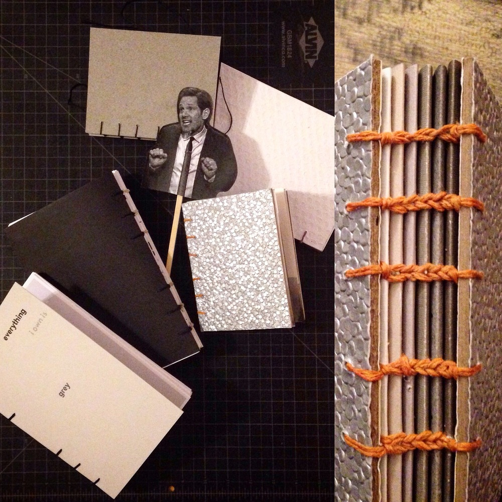 Our finished books bound by coptic stitch. Paul Rudd felt it neccesary to be present for the final unveling.