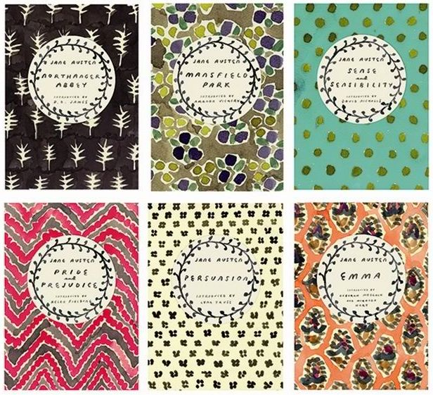 Graphic artist Leanne Shapton's signature painterly patterns grace the covers of four classic Jane Austen novels. You can buy them here: https://www.anthropologie.com/shop/jane-austen-classic-novels