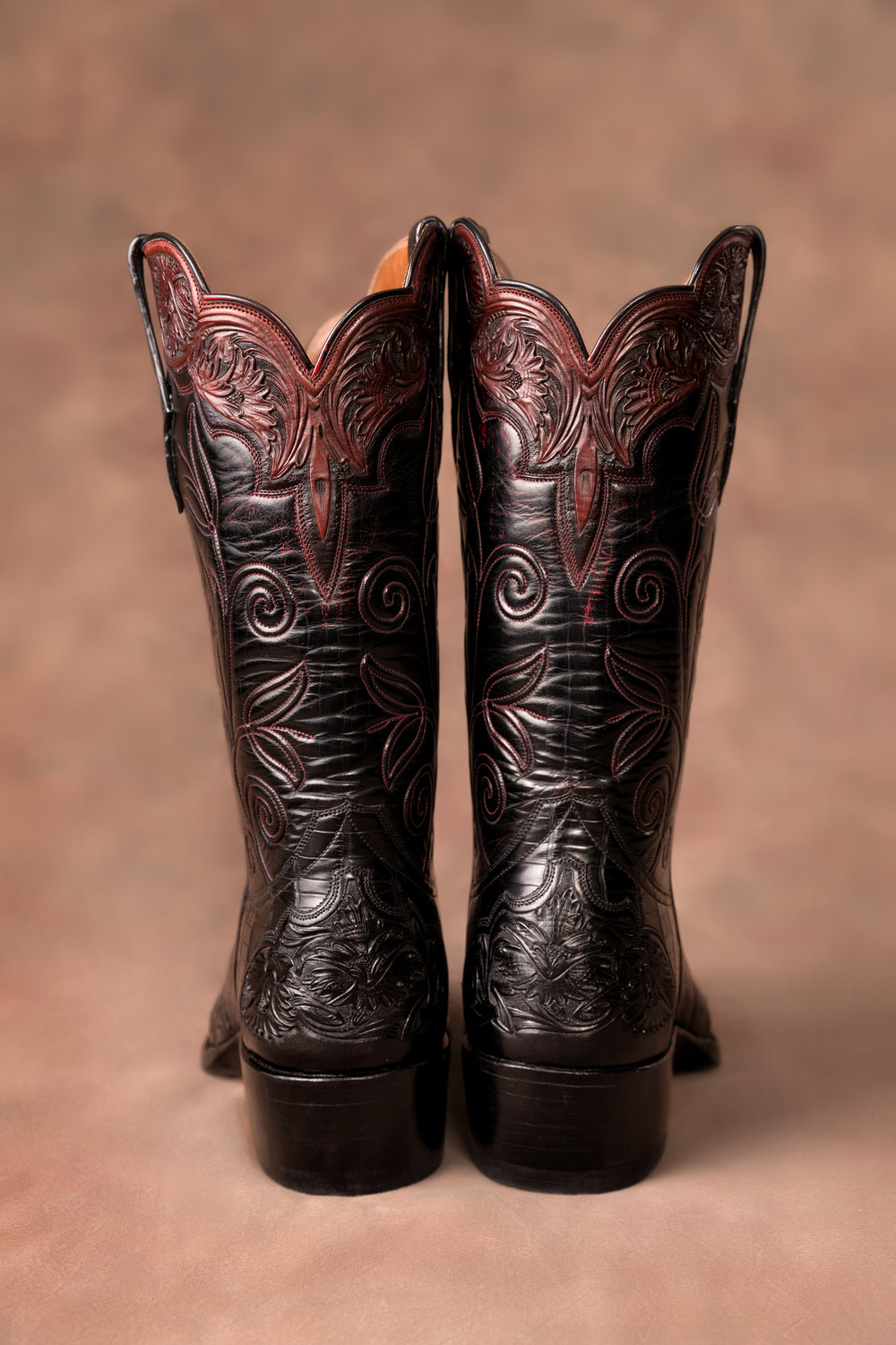 Fry Black Cherry Kangaroo tops with hand tooled collars wingtips and heel foxing over Black American Alligator vamps