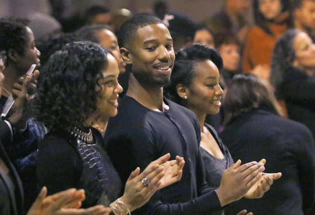 Actors Tessa Thompson, Michael B. Jordan and Anika Noni Rose at the #MLKNow event.