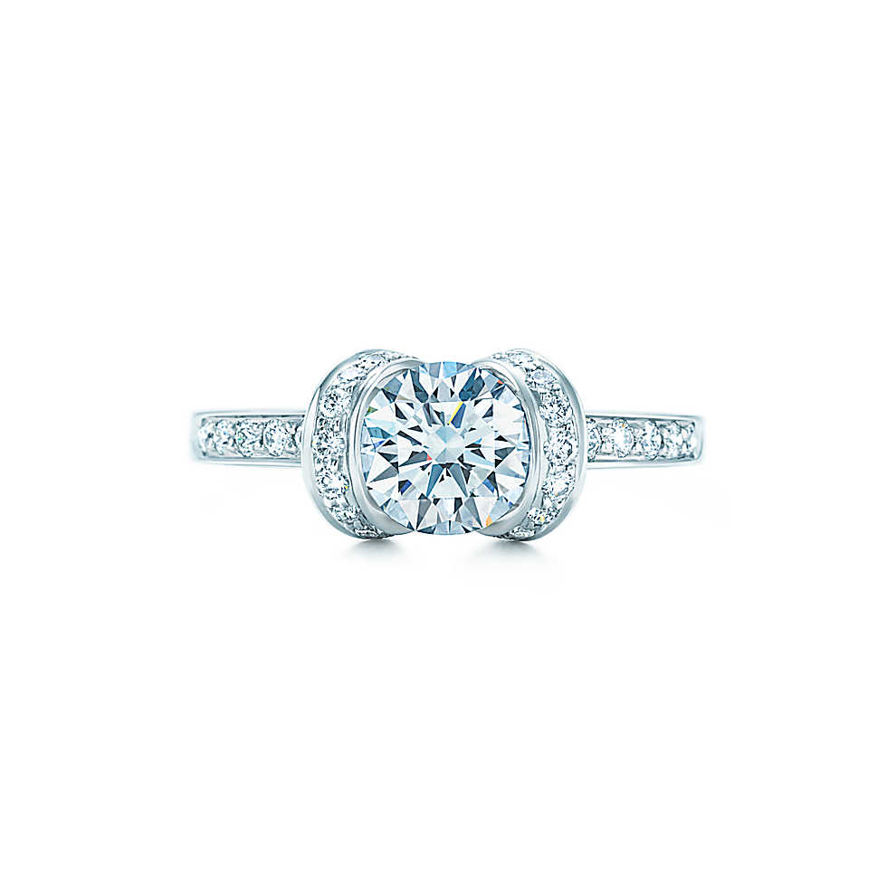 Tiffany Co Round Ribbon Diamond Ring HOCK MY ROCK