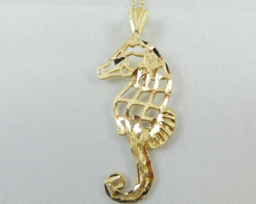 Yellow gold seahorse pendant necklace hock my rock yellow gold seahorse pendant necklace mozeypictures Choice Image