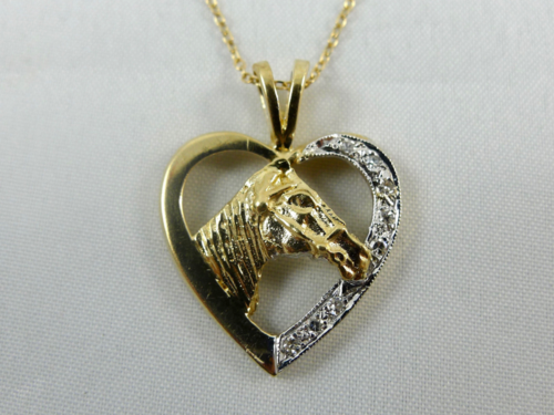 Gold diamond horse pendant necklace hock my rock gold diamond horse pendant necklace mozeypictures Gallery