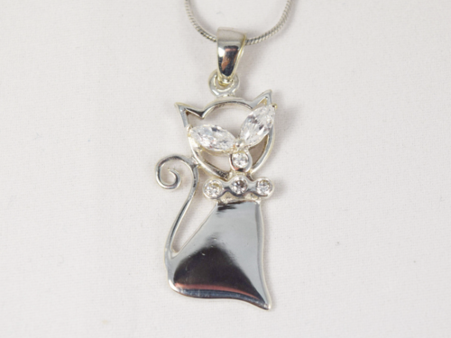 Sterling silver cat pendant necklace hock my rock sterling silver cat pendant necklace aloadofball Gallery