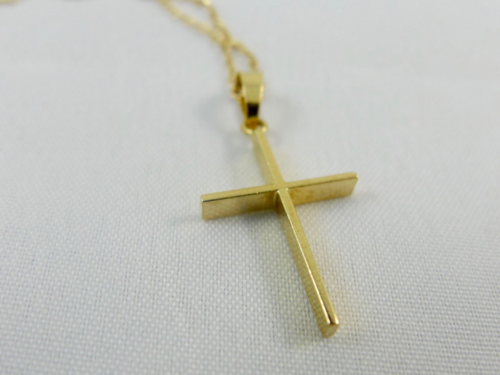 Yellow gold cross pendant necklace hock my rock yellow gold cross pendant necklace aloadofball Choice Image