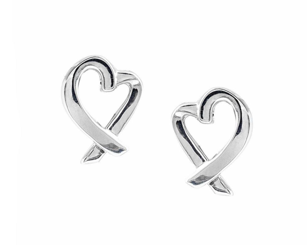 Tiffany & Co Paloma Picasso Heart Earrings, Silver