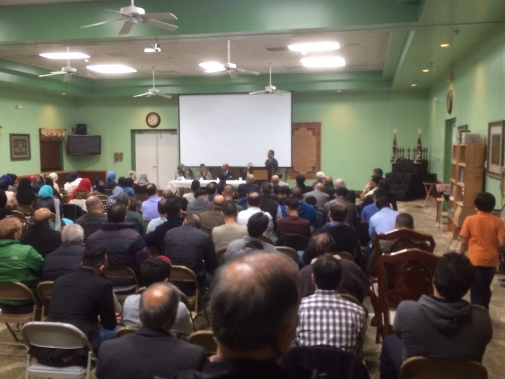 Over 150 registered Muslim voters from across Montgomery County attended the event at the Idara e Jaferia hosted by UMAA.