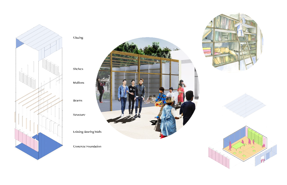 This geographical location of the alley allows Fairy-tale alley to be a platform accommodating multiple cultural content in the city. By maximizing the re-usage of garage structures, the design fosters the creation of new interaction within the public to create memorial spaces of work, live, and play.