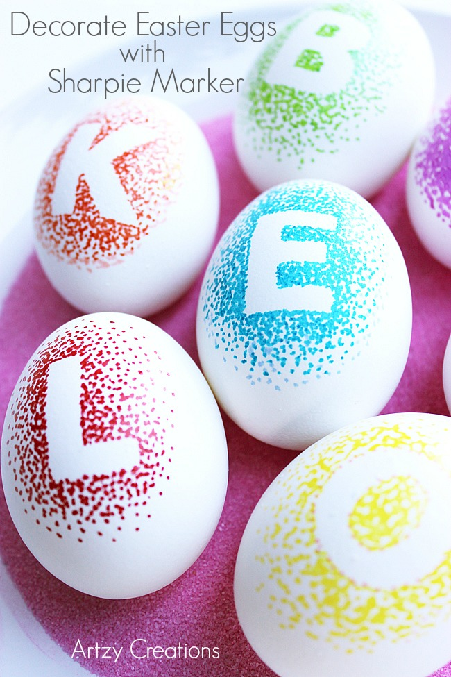 Artzy Creations Combines My Favorite Markers With Letter Stickers And Pointillism To Personalize Eggs For Everyone In The Family
