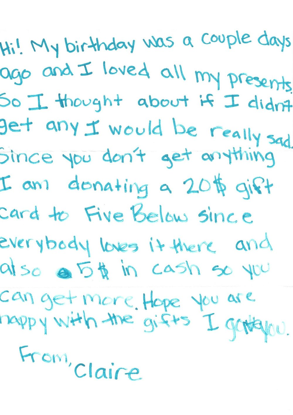 Kids are awesome. A letter from one of Birthday Wishes' young donors. Photo courtesy of Birthday Wishes.
