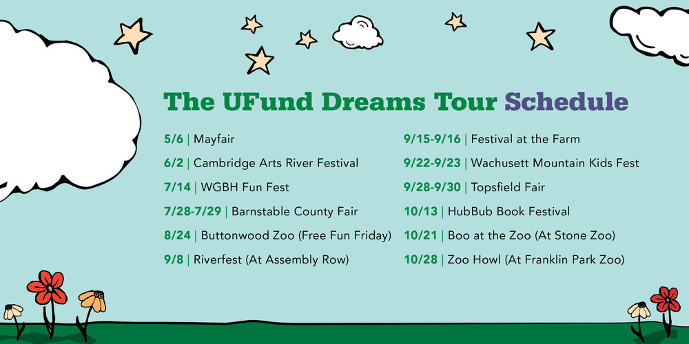 The U.Fund Dreams Tour schedule includes stops now through October.