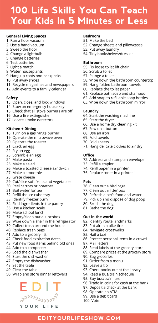 100 life skills you can teach your kids in 5 minutes or less. For real.