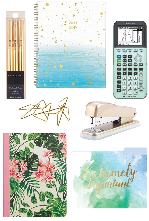 Laurel is all about white, gold, and pastel pops of color. Staples even has a mint colored scientific calculator. #dreamlife