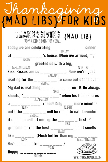 10 free Thanksgiving printables: Thanksgiving mad libs