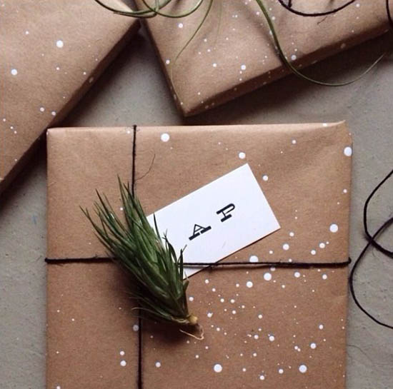 Creative kraft paper wrapping ideas: splatter paint