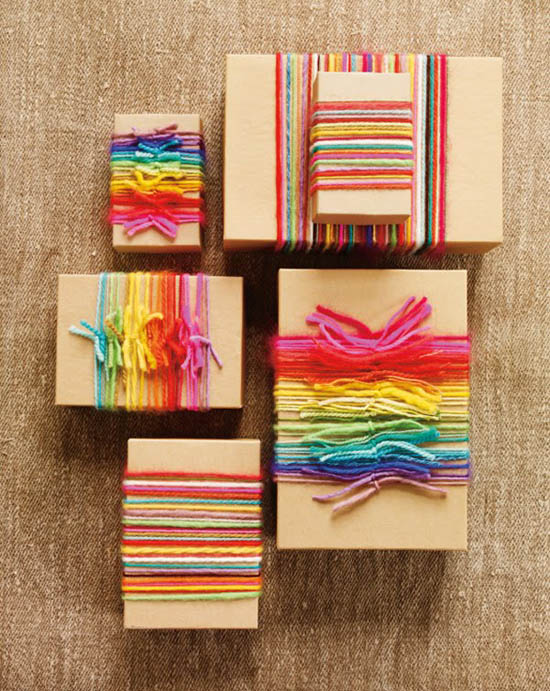 Creative kraft paper wrapping ideas: yarn wrappers