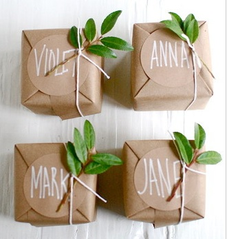 Creative kraft paper wrapping ideas: sprigs