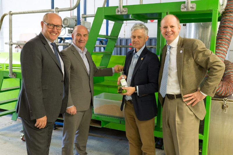 Mr Eric Hutchinson, Federal MP for Lyons, Mr John Laugher, Vice President Strategy and Business Development at Norske Skog, Mr Tony Duncan, CEO of Circa Group, and Mr Ross Hampton, CEO of AFPA visiting the pre-commercial facility in Melbourne on Friday.
