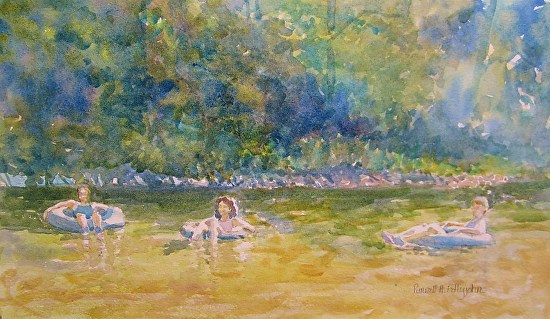 Purnell Pettyjohn Watercolor, Tubing Down the Cowpasture RIver