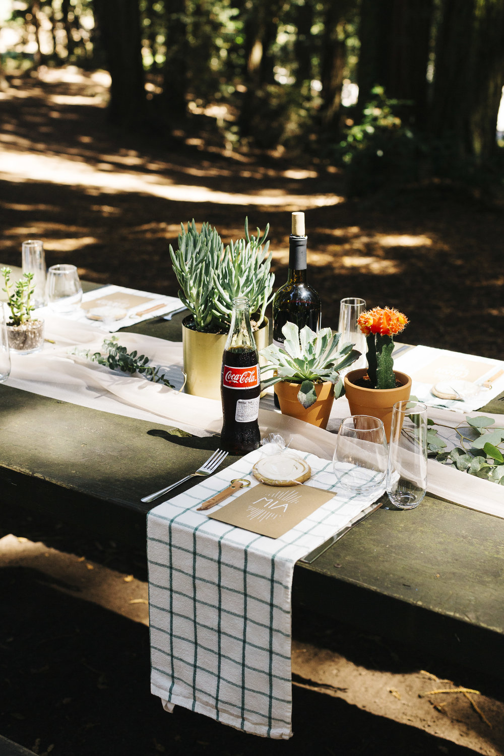 MODERN AND FUN OUTDOOR WEDDING PICNIC TABLE SETTING