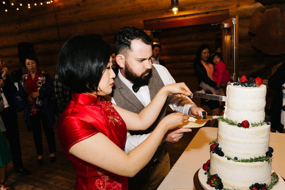 Cutting wedding cake is hard