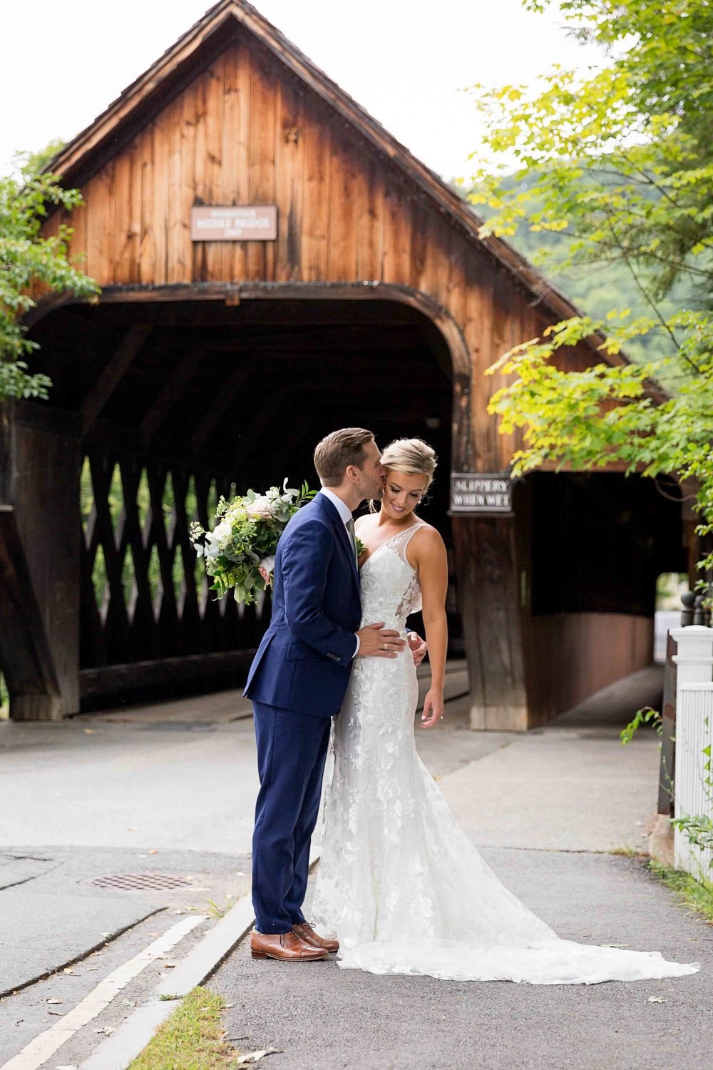 Covered Bridge Wedding Portrait in Woodstock VT from The Woodstock Inn and Resort