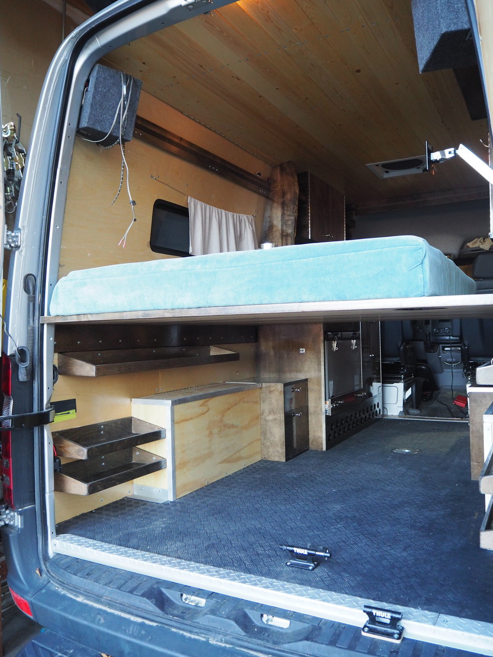 Bed Platform From the Back of the Sprinter Van