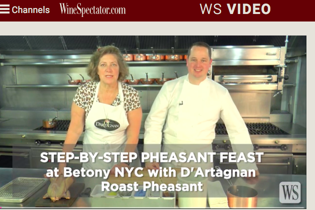 ariane daguin demos Pheasant with chef bryce shuman of Betony Restaurant