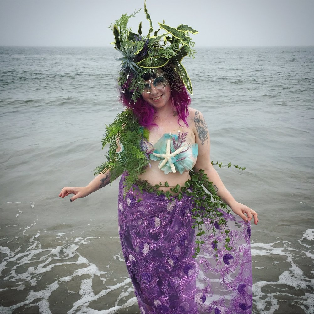 Anglerfish Mermaid Costume //  Coney Island Mermaid Parad e // 2017   Kelp headdress // Mermaid tail // Mermaid top // Makeup