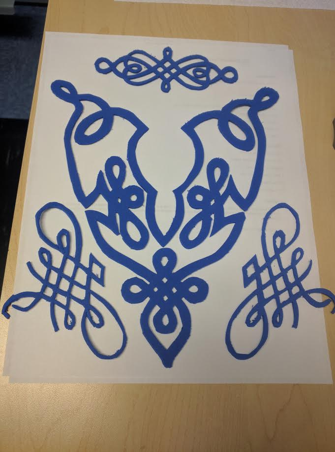 "What I did was google search ""celtic knot"" and found this under the embroidery section. Printed them out, cut out the picture and traced in onto thin craft foam (using an xacto knife). These are for a headband, necklace and two cuffs."