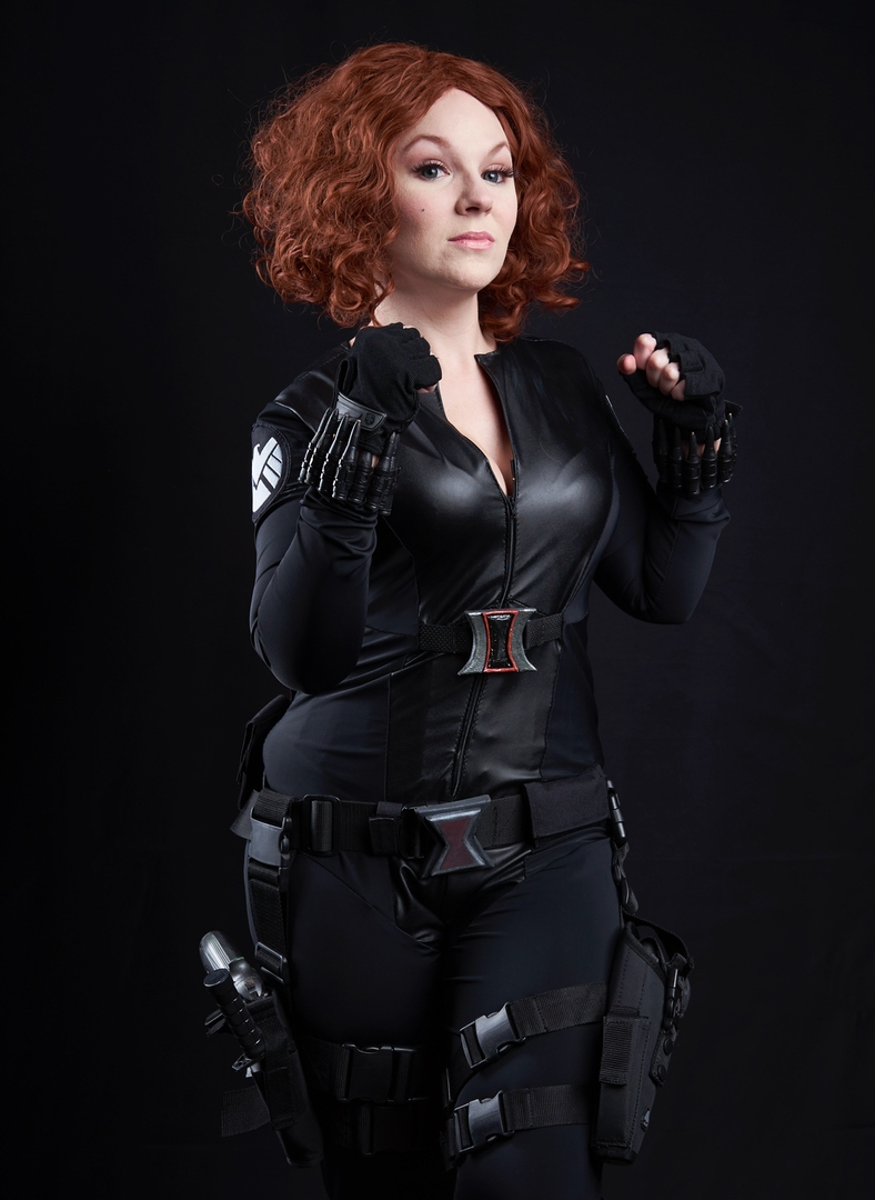 Black Widow- Marvel  Used the Yaya Han body suit pattern and her fabric. The Widow symbols are made by me out of foam. Guns and bullets made by me.