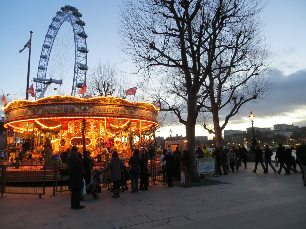A merry-go-round next to the Thames
