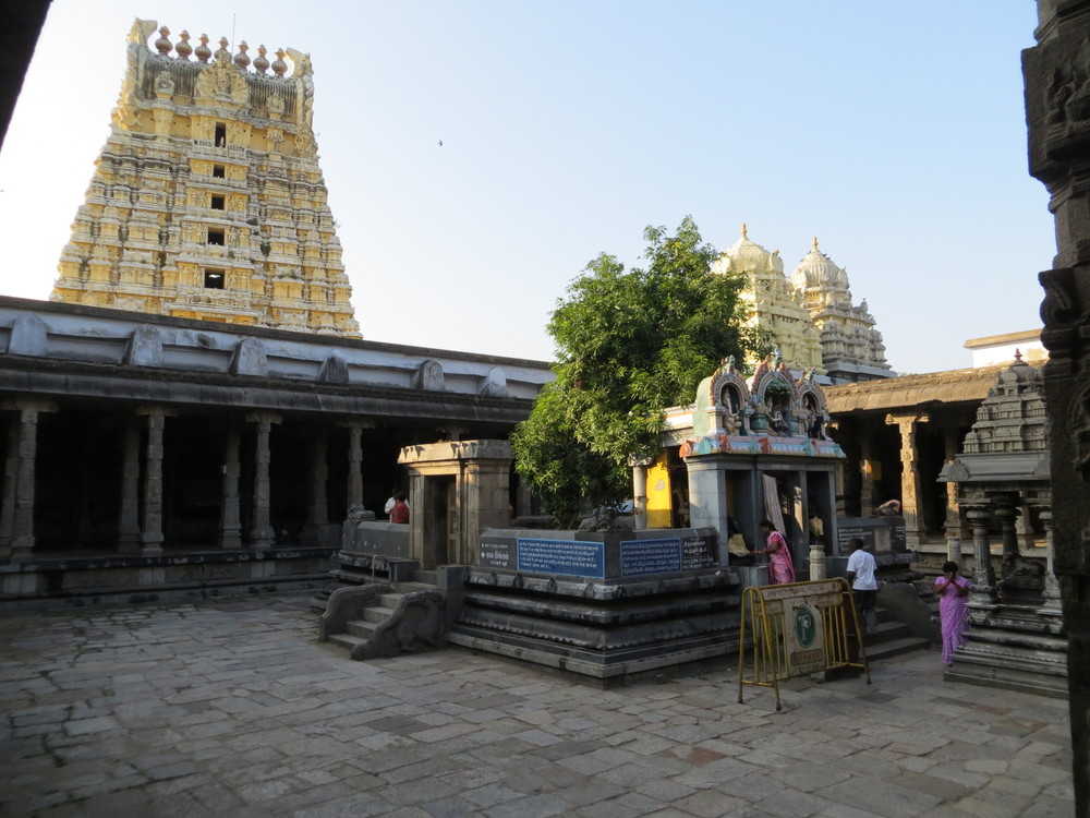 Inner court of the temple in Kanchipuram