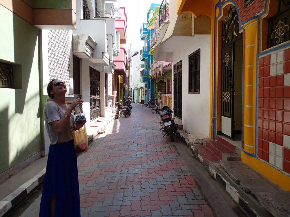 Walking through the colorful muslum neighborhood