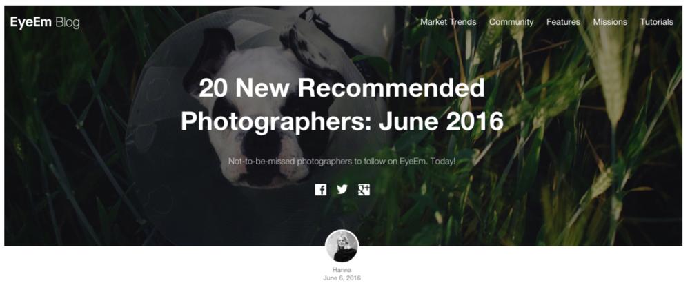 "2016 : EyeEm Blog - ""20 New Recommended Photographers: June 2016"""