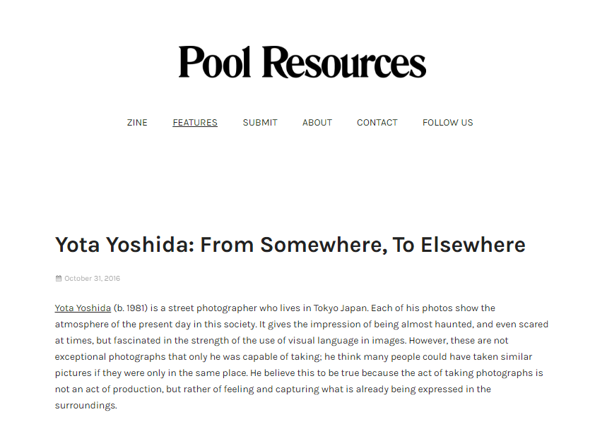 "2016 : Pool Resources - ""from somewhere, to elsewhere - Yota Yoshida"""