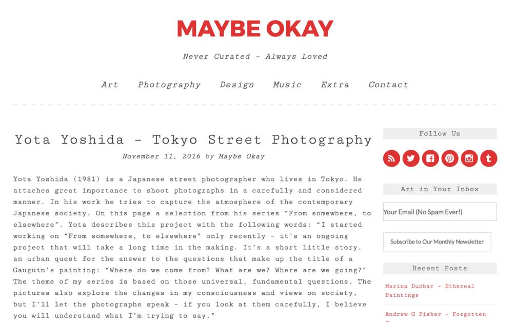 """2016 : MAYBE OKAY - """"Yota Yoshida - Tokyo Street Photography"""""""