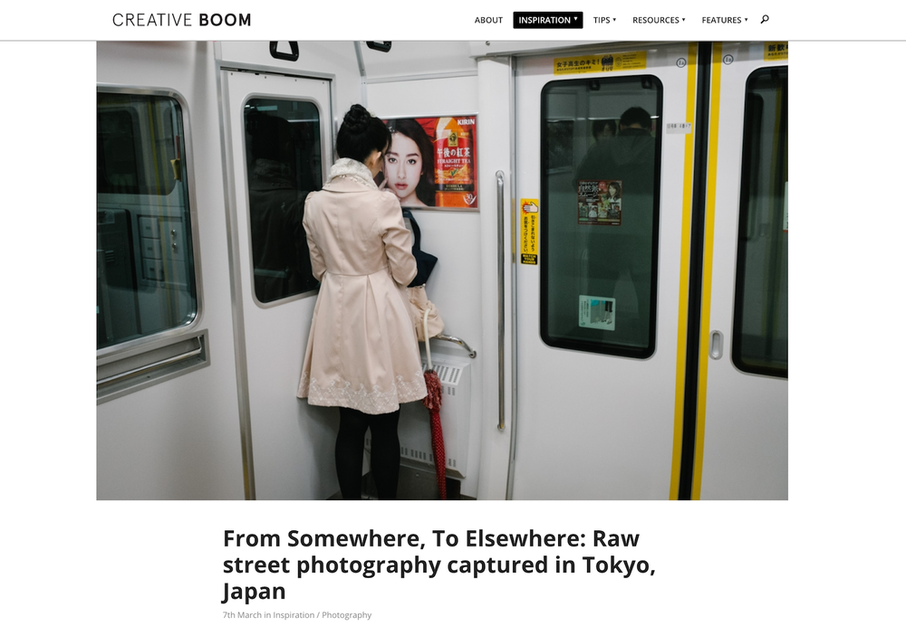 "2017 : Creative Boom - ""From Somewhere, To Elsewhere: Raw street photography captured in Tokyo, Japan"""