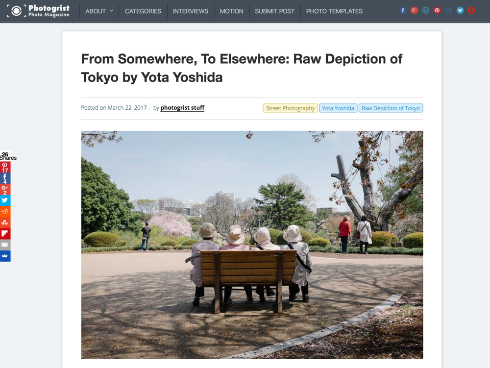"2017 : Photogrist Photo Magazine - ""From Somewhere, To Elsewhere: Raw Depiction of Tokyo by Yota Yoshida"""