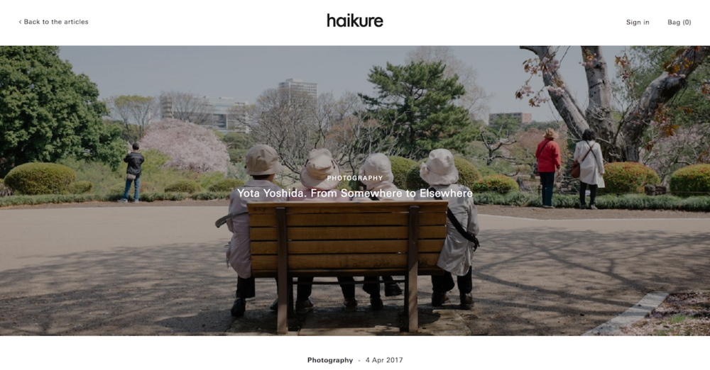 "2017 : haikure - ""Yota Yoshida. From Somewhere to Elsewhere"""