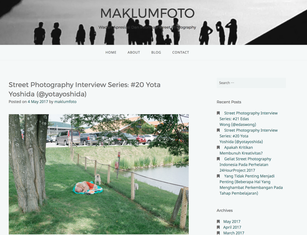 "2017 : MaklumFoto - ""Street Photography Interview Series: #20 Yota Yoshida (@yotayoshida)"""