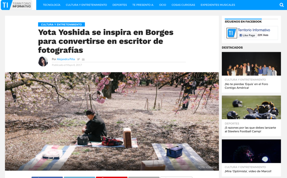 "2017 : Territorio Informativo - ""Yota Yoshida se inspira en Borges para convertirse en escritor de fotografías"""