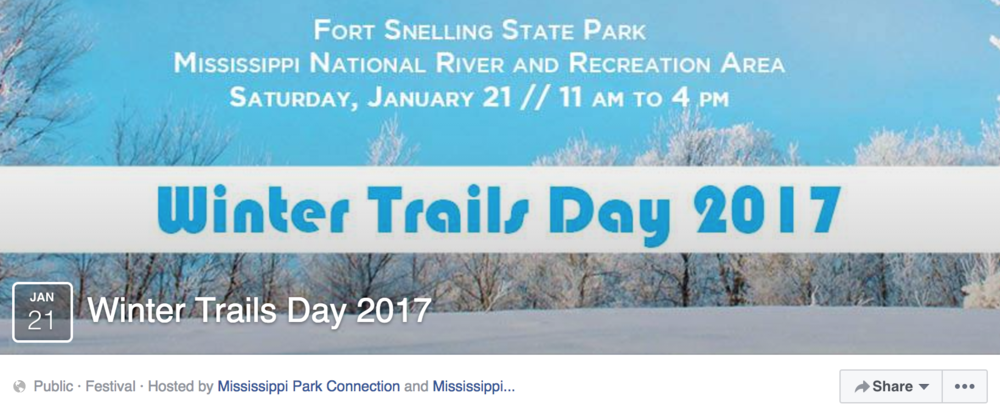 Screenshot from Winter Trails Days Facebook event page